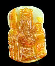 A Chinese Jadeite Pendant Carved Guangong Figure