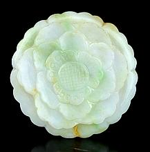 A Chinese Jadeite Carved Flower Qing Dynasty