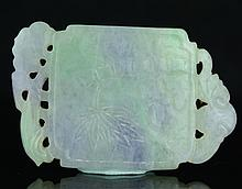 A Chinese Jadeite Pendant Carved Bamboo and Calligraphy