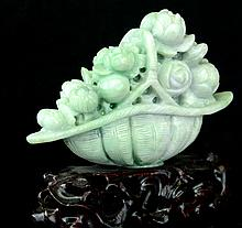 A Chinese Flower Carved Jadeite