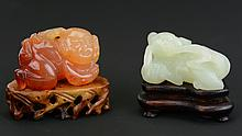 Two Chinese Carved Jade and Agate Toggles. Late Qing to