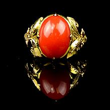 A Chinese Coral 14K Gold Ring