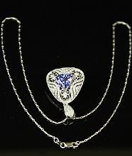 A Tanzania Pendant With Diamond And 14K White Gold