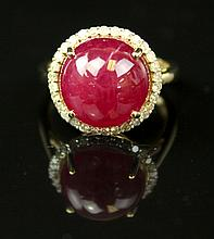 A Natural Ruby And Diamond Ring With 14K Yellow Gold