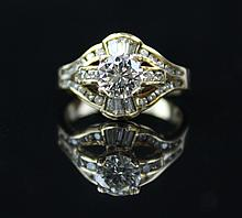 A Round Brilliant Cut Diamond Engagement Ring With 14 K