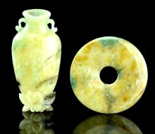 Two Chinese Jadeite Carved Small Vase and Bi disc