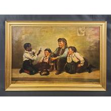 19th C J.W Brown O/C 4 Boys Playing