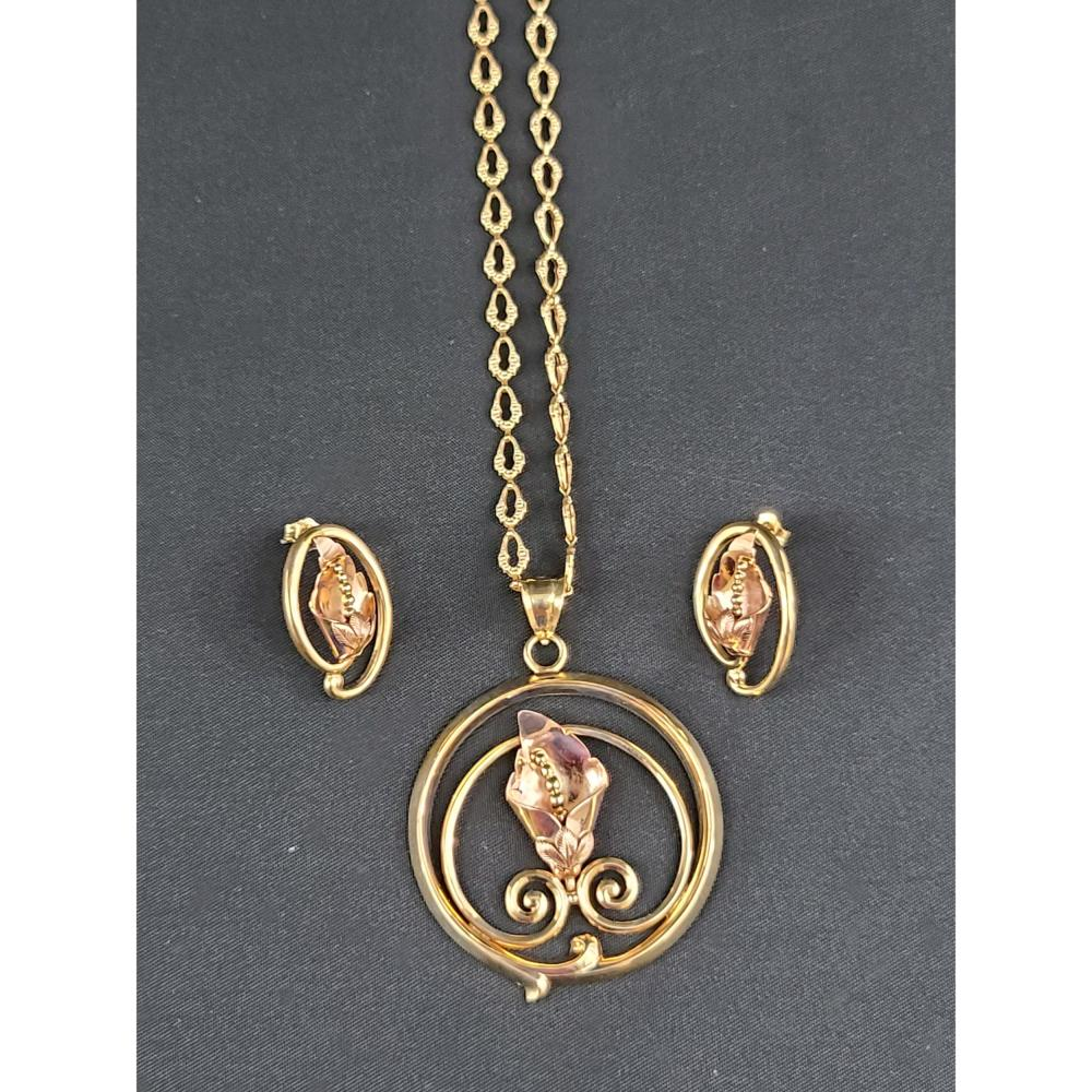 Sold Price 14k Gold Rose Gold Necklace Earring Set 19 Grams July 6 0120 2 00 Pm Edt