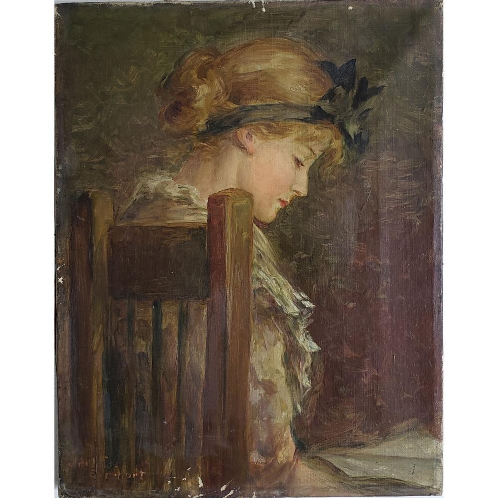Antique Portrait Painting 19 c.
