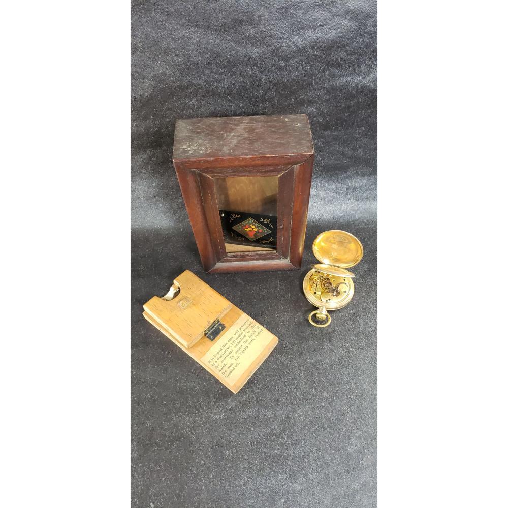 Antique Gold Filled Elgin Pocket Watch In Folk Art Box