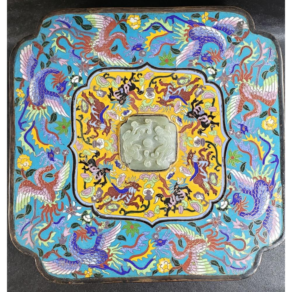 Lg Chinese Cloisonne Box With Jade Qing Period.