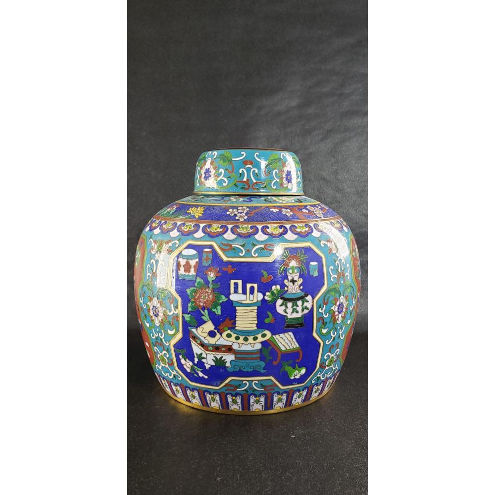 Lg Chinese Cloisonne Ginger Jar 19 c