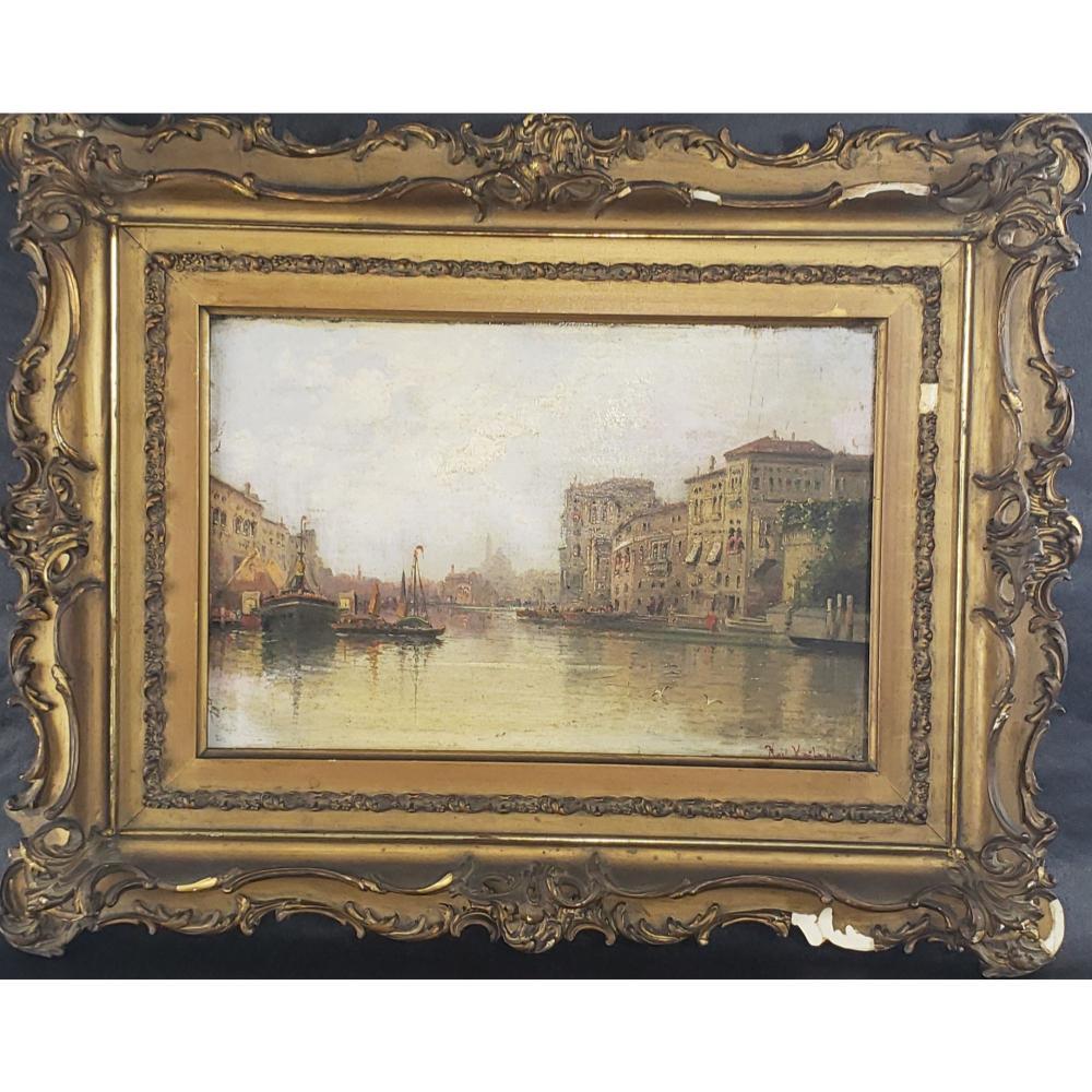 Antique O/B Painting Venice Canals 19 c  Karl Kaufmann
