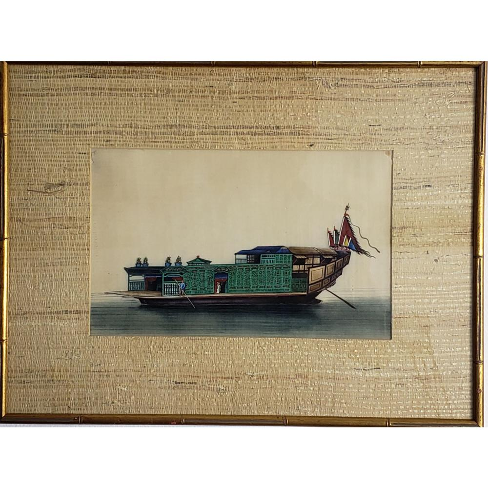 Antique Chinese Export Painting On Paper 1850