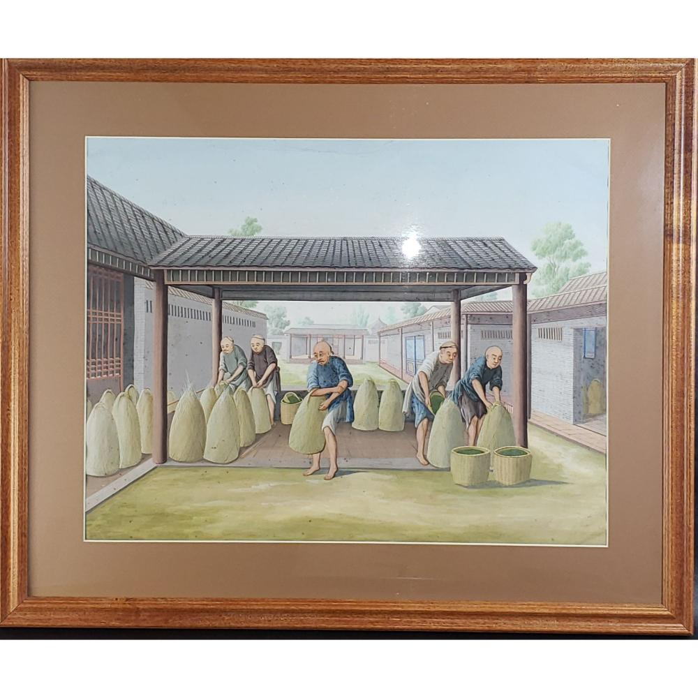 Antique Chinese Export Painting On Paper 1850.