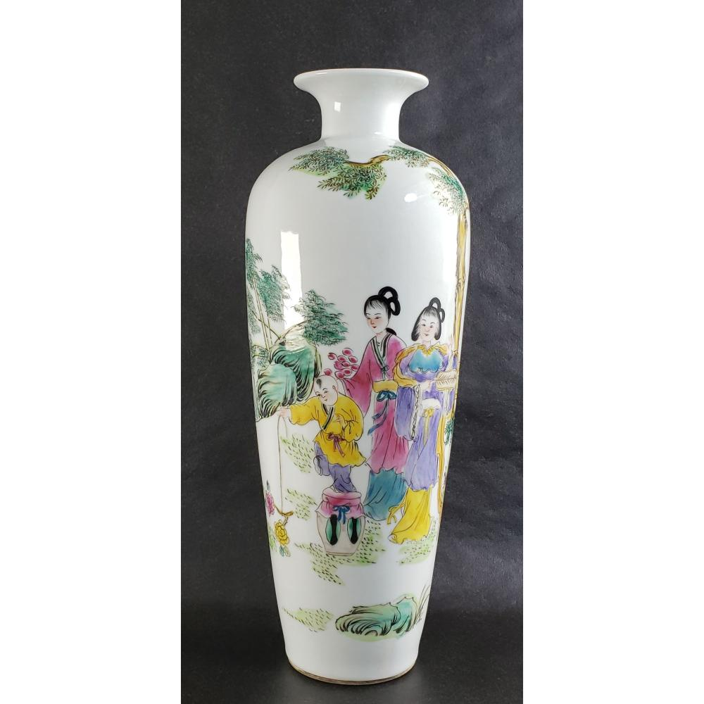Signed Chinese Famille Rose With Figures 20 c