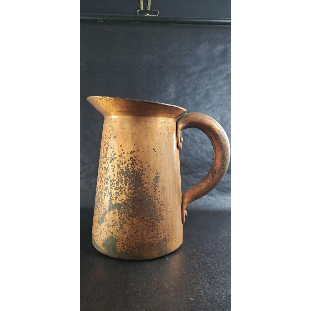Heavy Hammered Copper Water Pitcher 13.6 Lbs 19th Cent