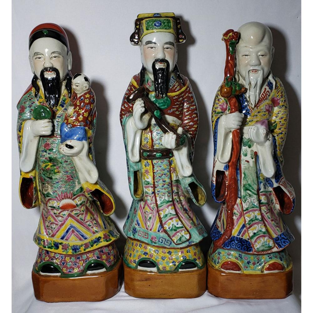 Lot Of 3 Large Chinese Famille Rose Figures w/ Marks 20.