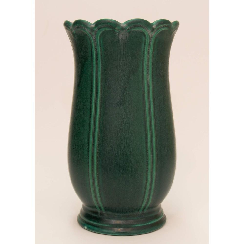 Arts & Crafts Period Organic Green Matte Glaze Pottery Vase