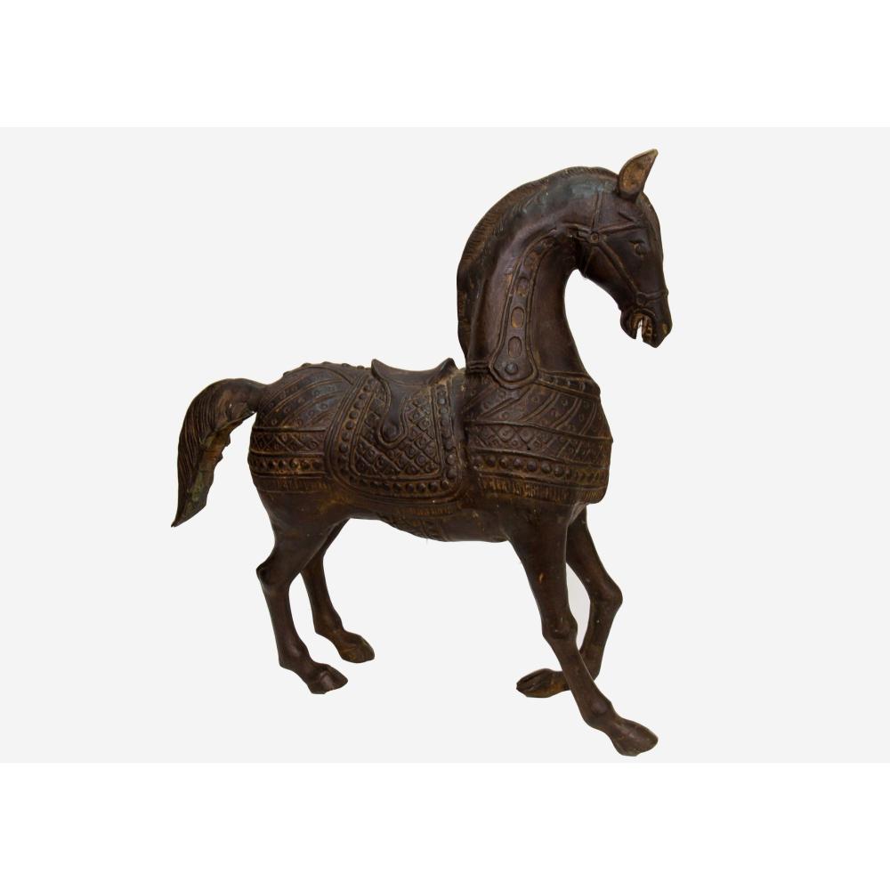 Vintage Sand Cast Bronze Chinese War Horse Sculpture