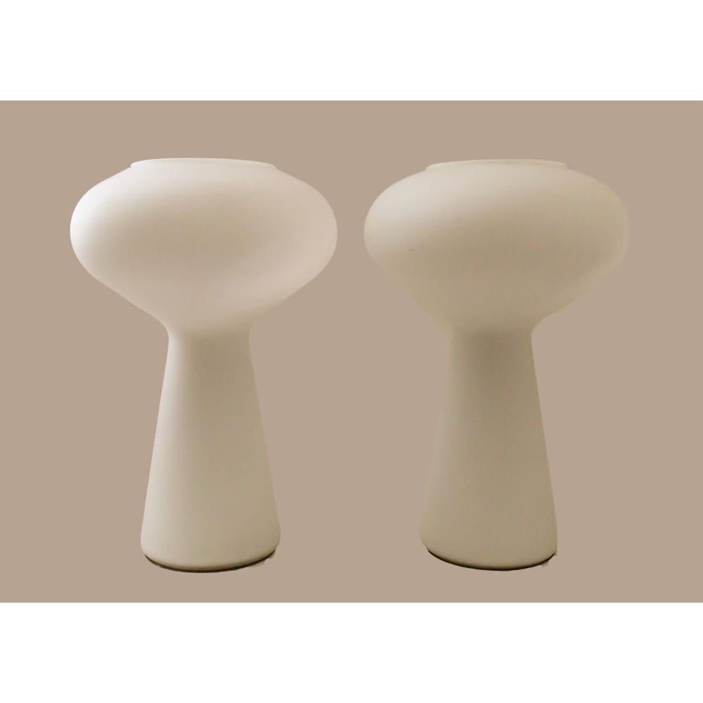 Pair of Lisa Johansson Pape Mid Century Modern Glass Mushroom Table Lamps