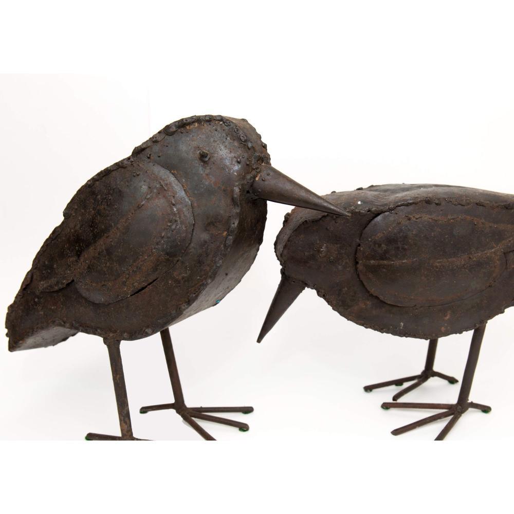 Pair of Brutalist Metal Welded Mid Century Raven Bird Sculptures
