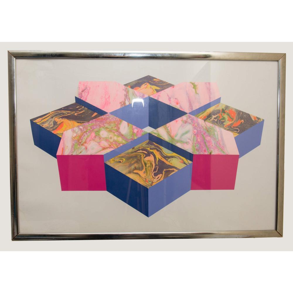 Vintage 1960's Hexadecagon Polygon Op Art Lithograph Print