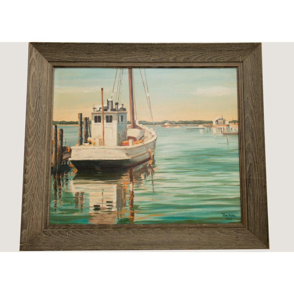Vintage Original Signed O/B Florida Landscape Harbor Scene Tom Hind