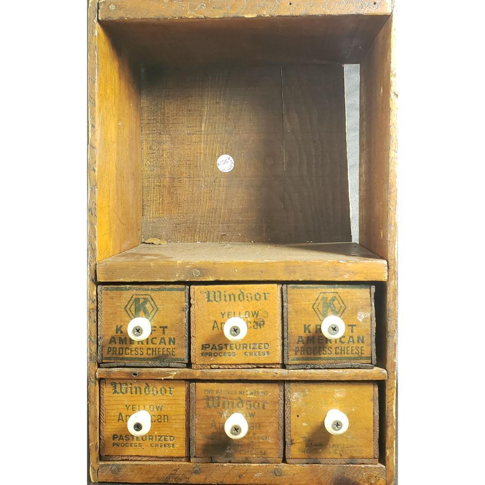 Primitive Americana Wood Shelf with Cheese Box Drawers