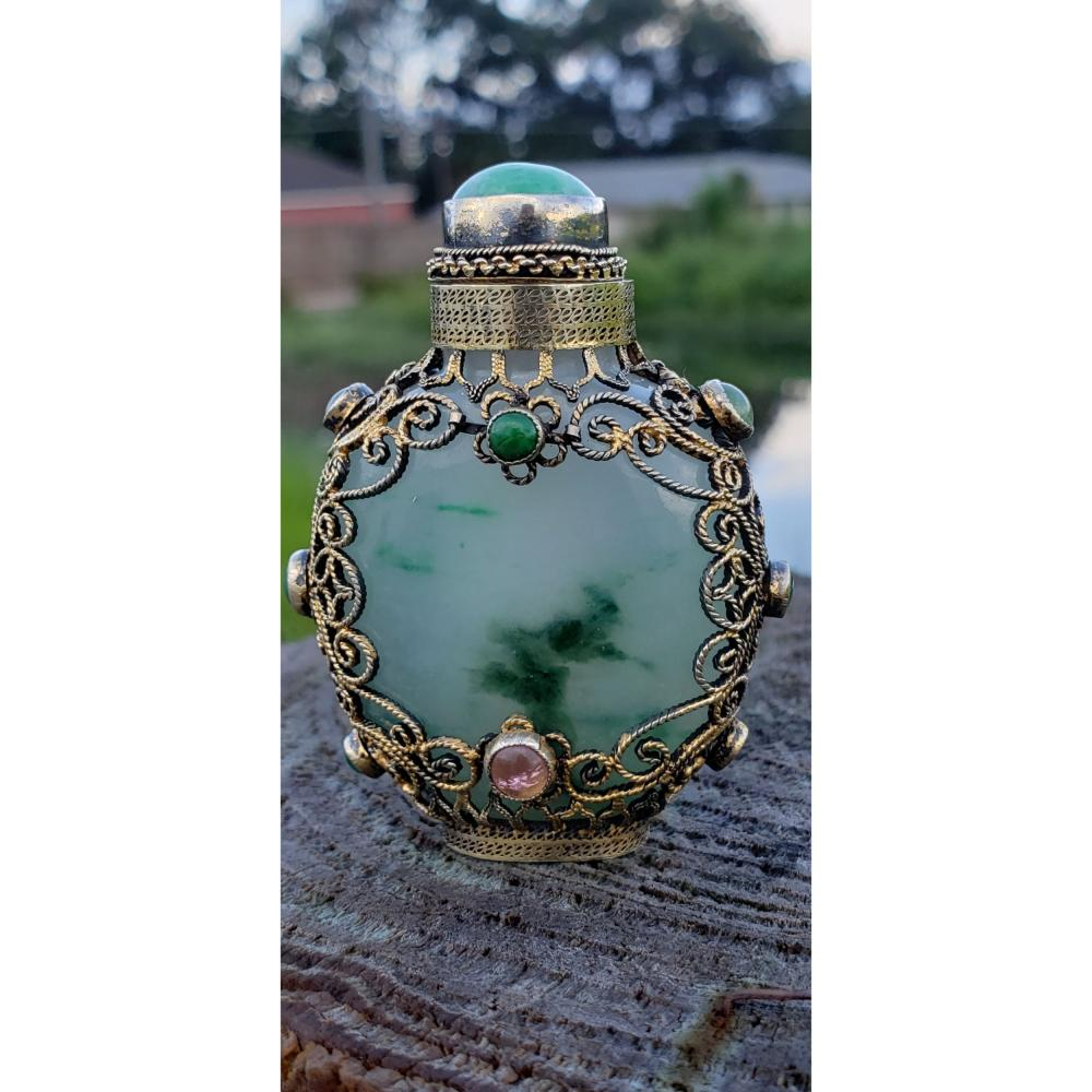 Carved Chinese Jade Snuff Bottle w/ Mark Silver Overlay 19-20 c, lined with precious stones including Jadeite