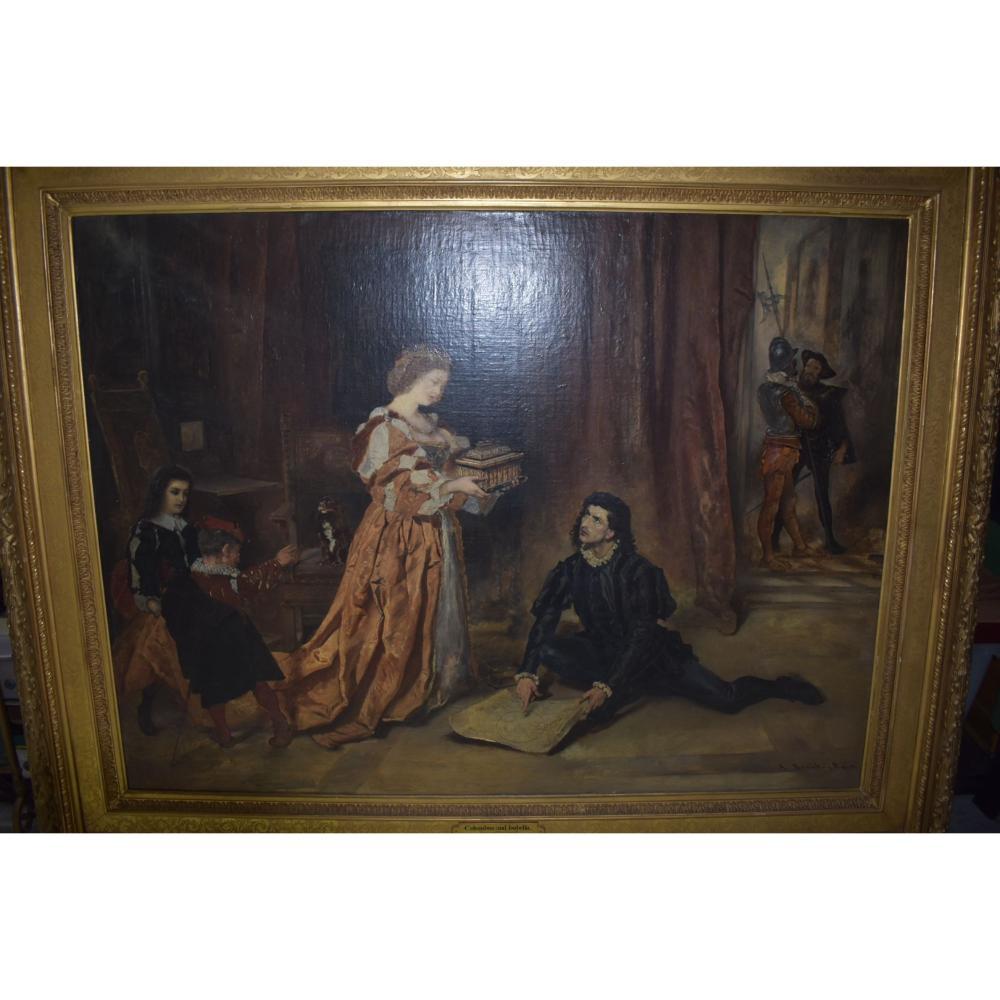 "Oil on Canvas Large Austrian Painting ""Columbus & Isabella Signed Anton Ramako 1832-1889"