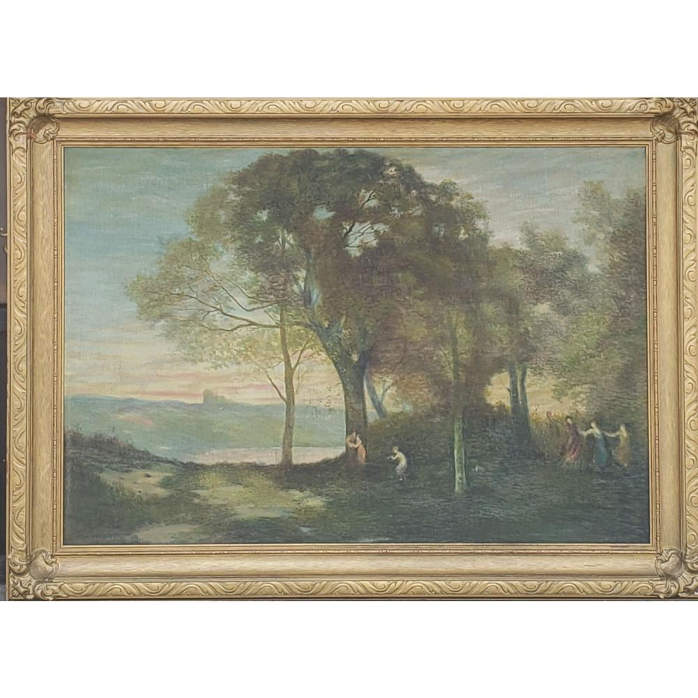 Lg 19th C Landscape Painting with Figures