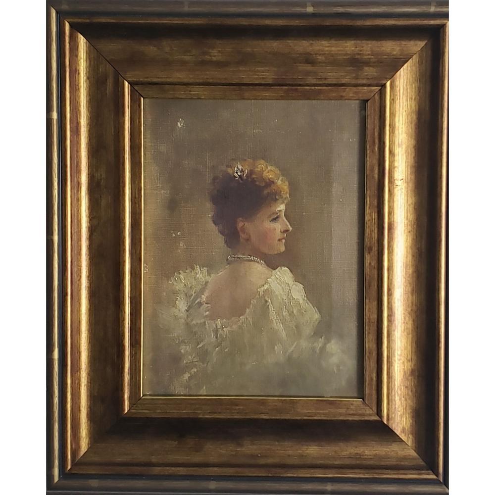 Antique Portrait Painting Of A Lady 19 c