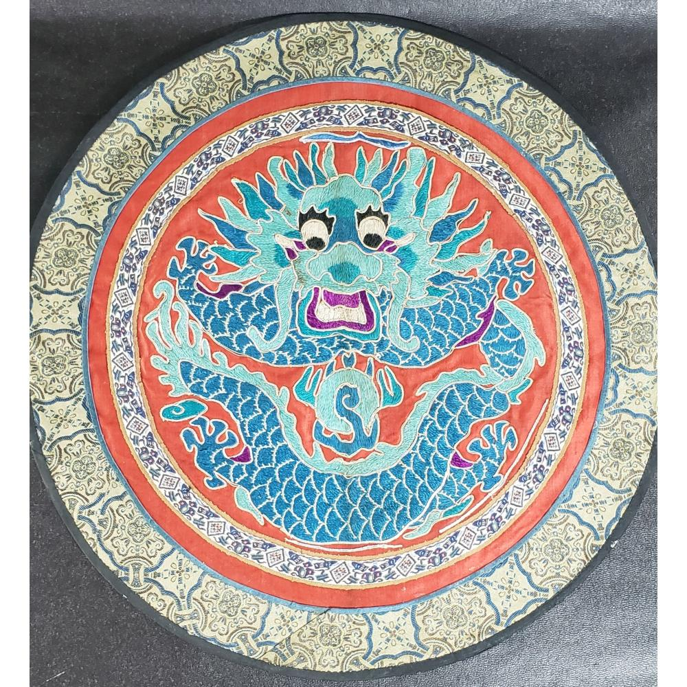 Chinese Silk Badge With A Dragon 19-20 c