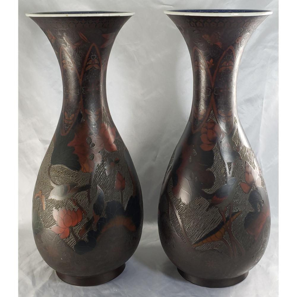"Pr Of Fine Japanese Porcelain Vases 19th C. Measures 23.5"" Tall"