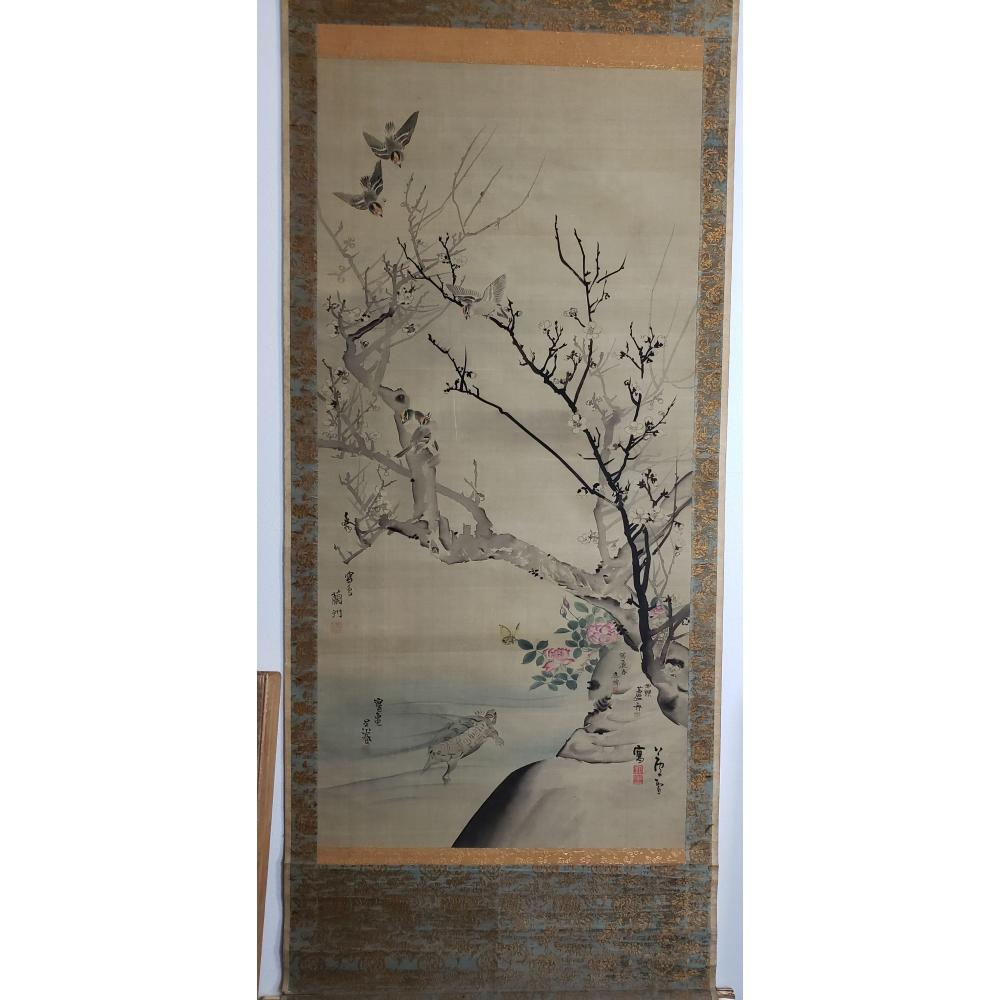 Chinese Scroll Painting Plum Rose And Birds Signed And Stamped With Seals And Calligraphy