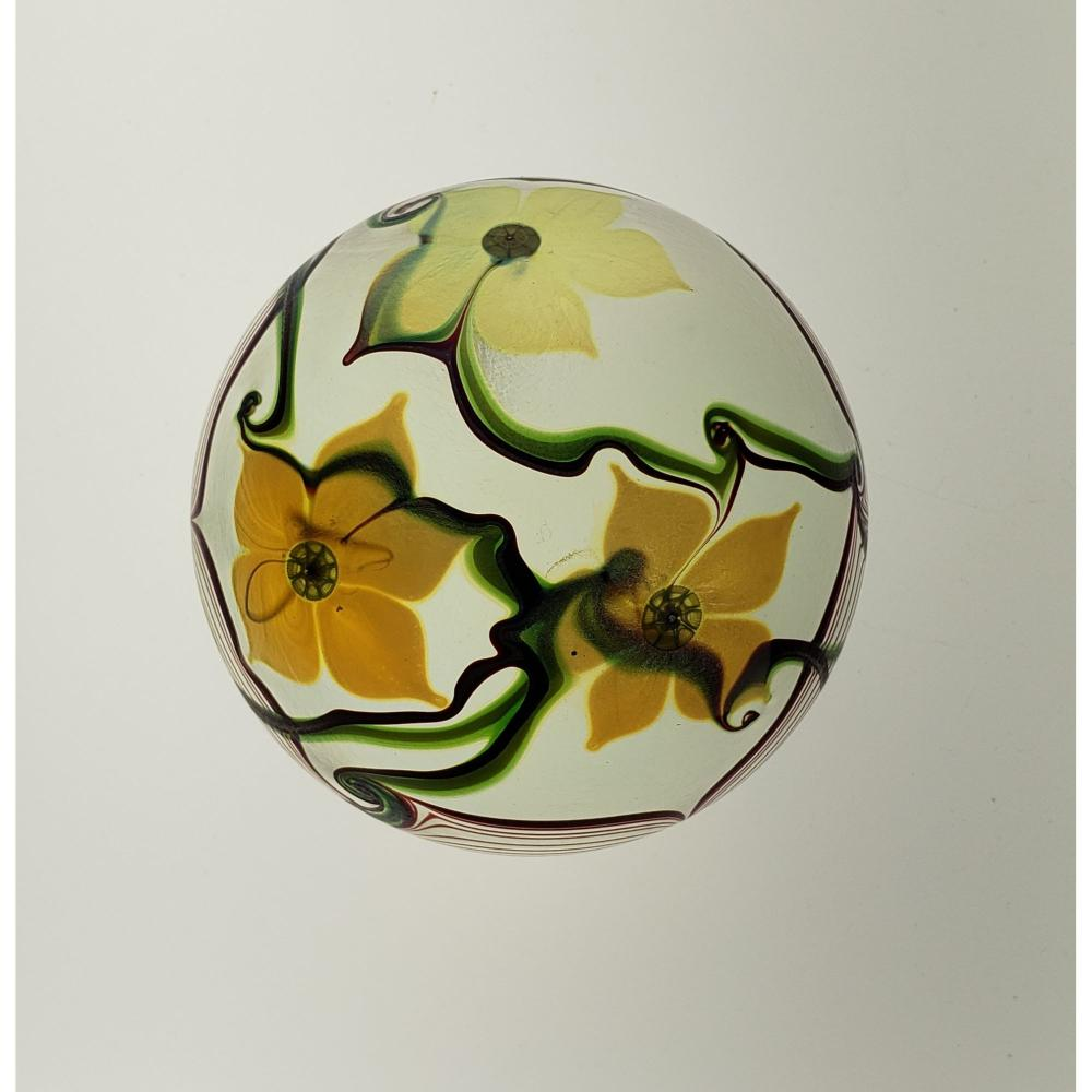 Signed Art Glass Paperweight Orient And Flume