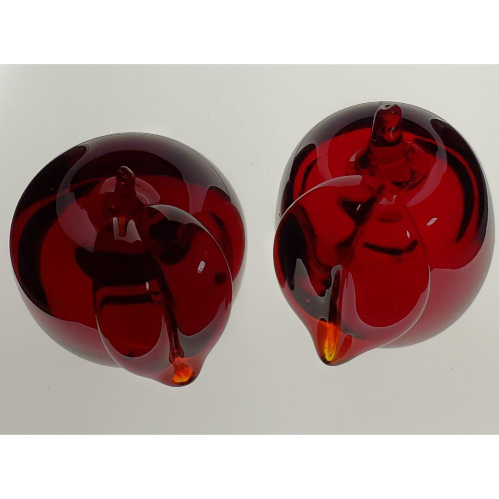 Lot Of 2 Ruby Red Apple Paperweights Signed.
