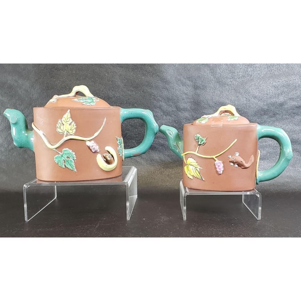 2 Chinese Yixing Zisha Enamel Teapots Signed.