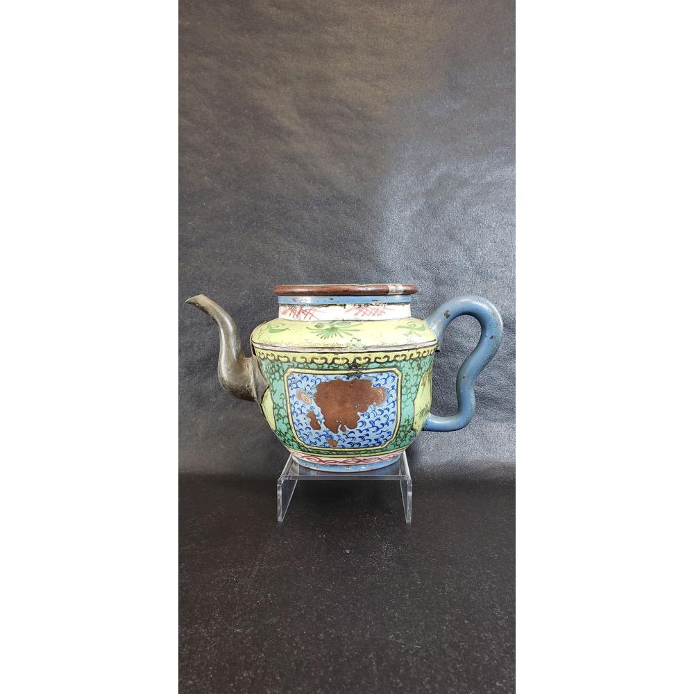 Chinese Yixing Zisha Enamel Teapot Signed.