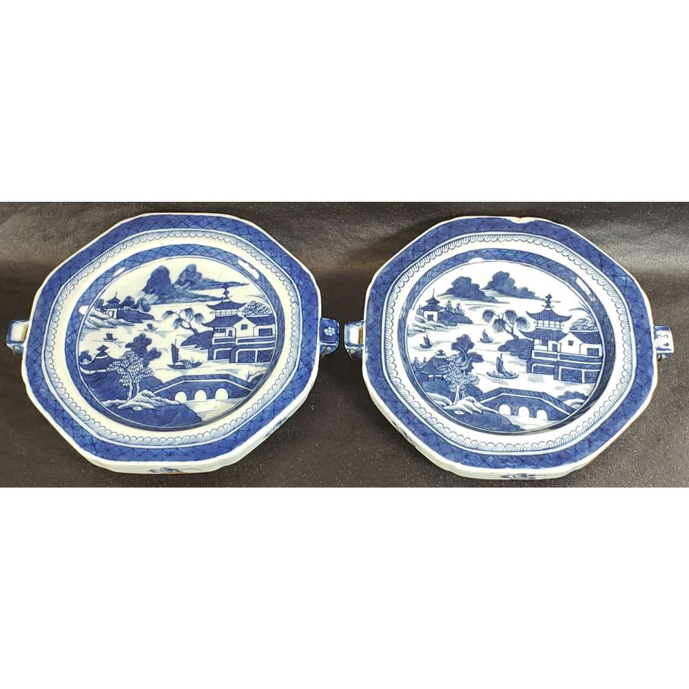 Pr Of Chinese Export Blue & White canton Dishes 19 c