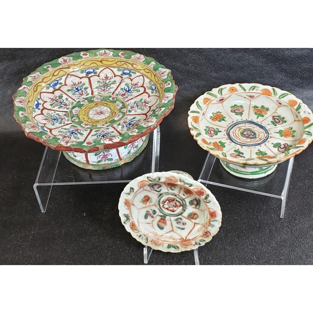 3 Antique Chinese Famille Rose Dishes 19 c.