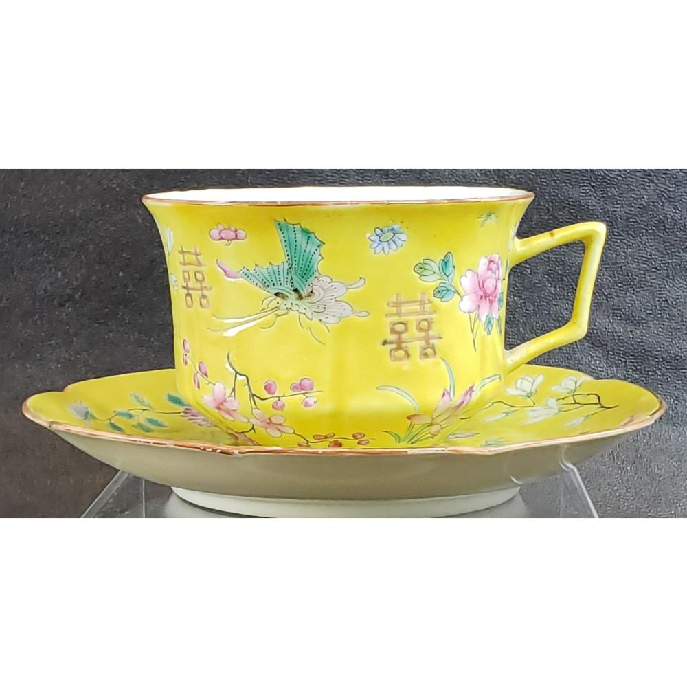 Chinese Imperial Yellow Cup And Saucer 19 c.