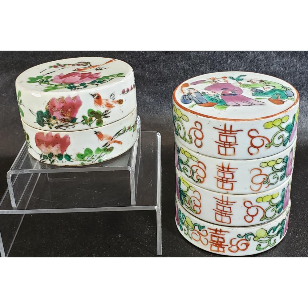 Antique Chinese Famille Rose Round Boxes 19 c