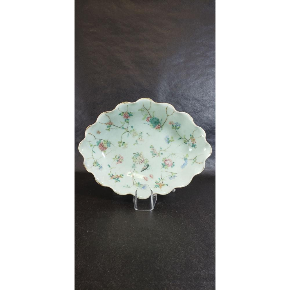 Chinese Celadon Bowl With Enameled Flowers And Insects 19 c.