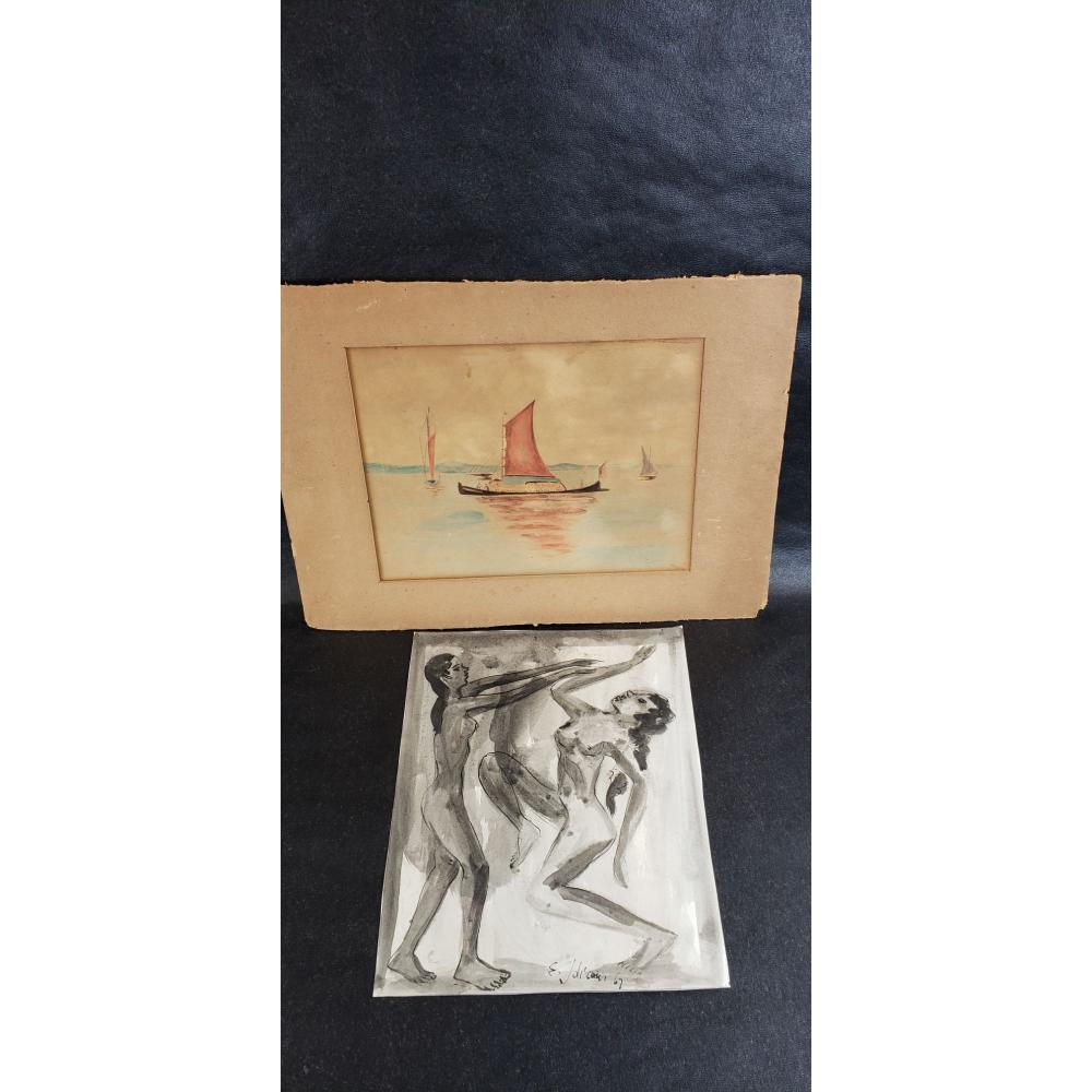 Lot of 2 water color nude study and seascape