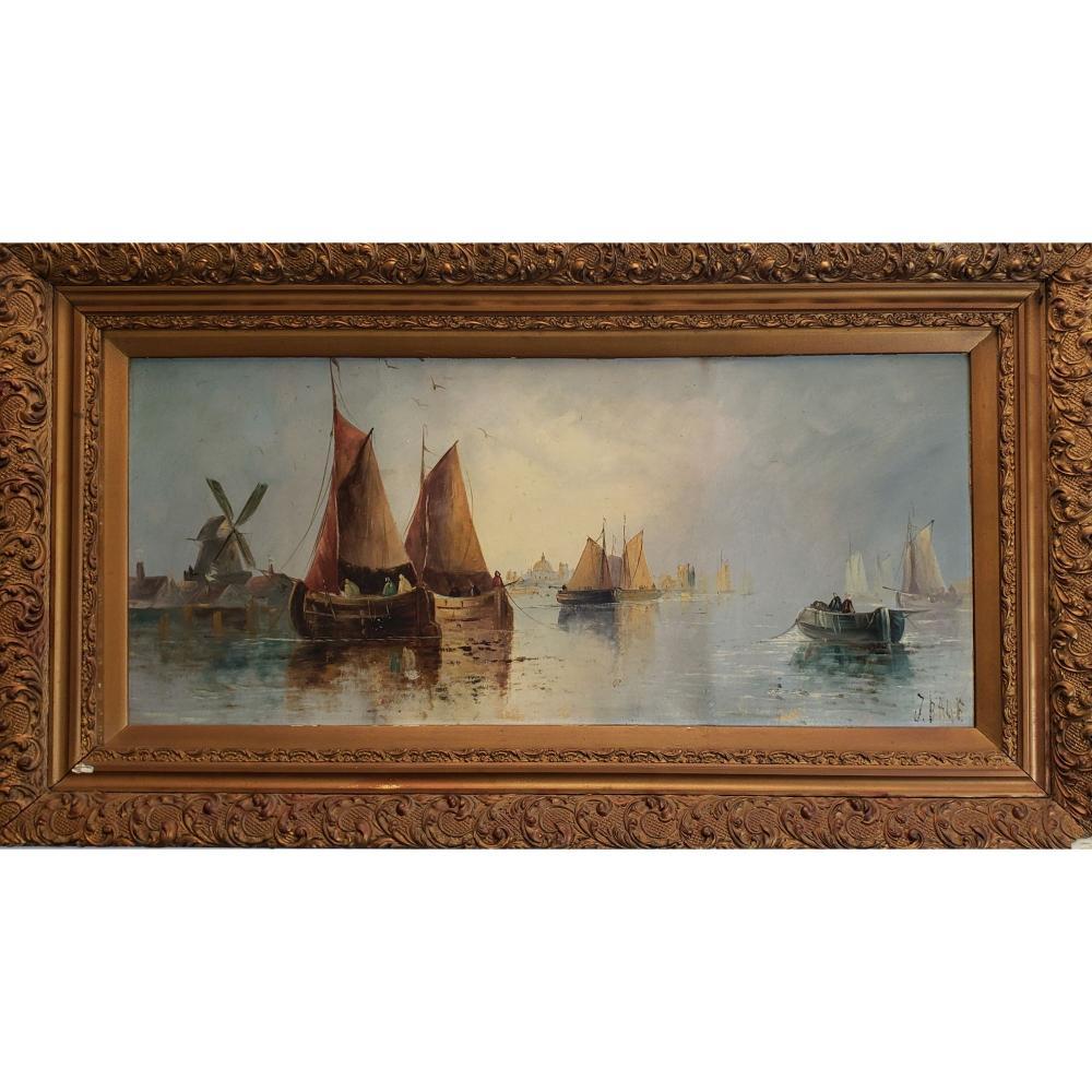 Antique Seascape Painting Signed John Edward Bale 19 c
