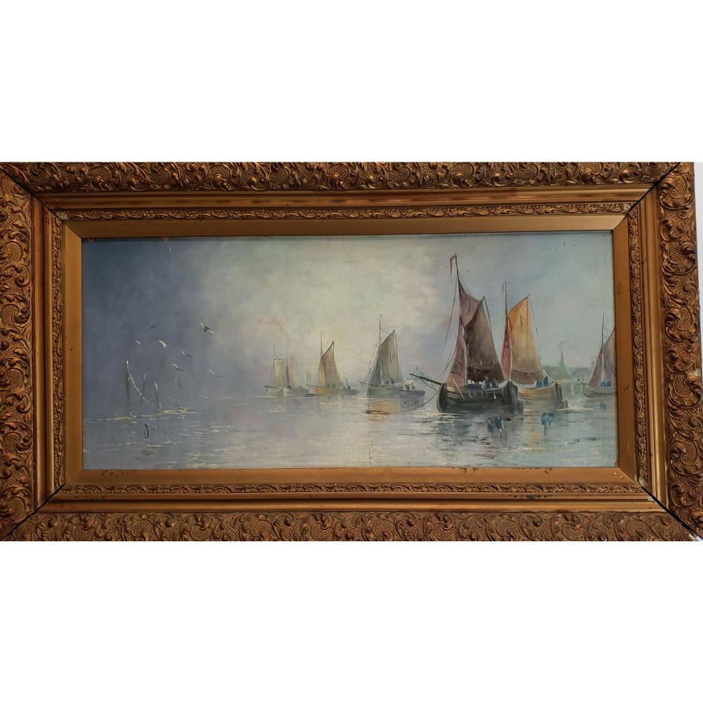 Antique Seascape Painting Signed John Edward Bale 19 c.