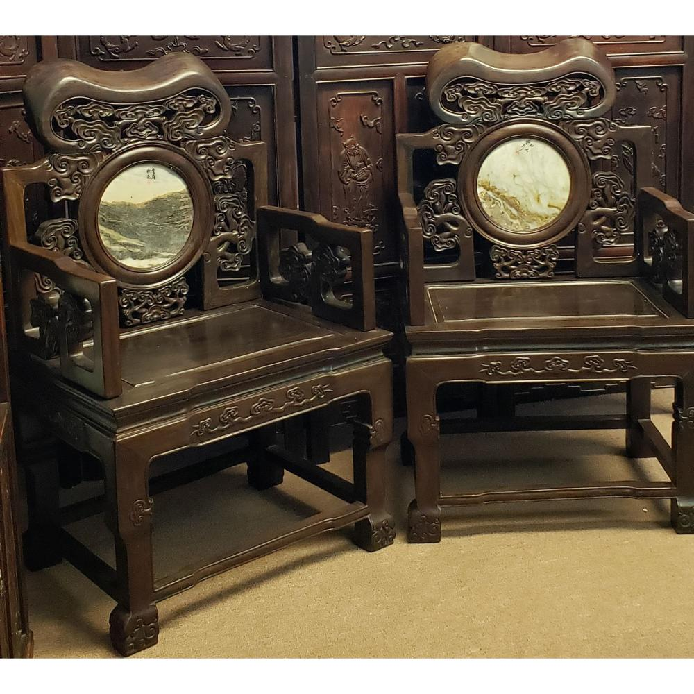 (Rosewood or Mahogany?)Pr Of Chinese Hardwood Chairs With Dream stones Signed. Approx 150 lbs Each.