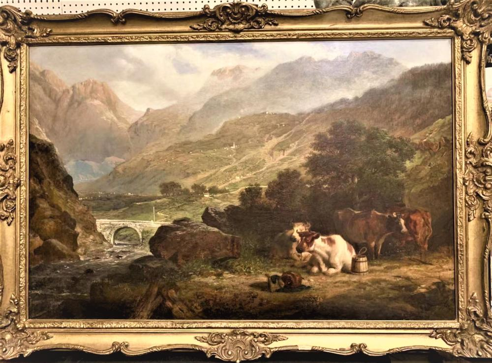 Amazing Oil On Canvas Cow Landscape Painting
